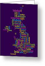 Great Britain Uk County Text Map Greeting Card