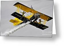 Grumman Ag 164 Wingwalker Greeting Card by Conny Sjostrom