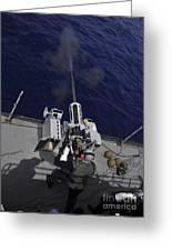 Gunner Fires A Mark 38 Machine Gun Greeting Card