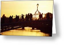 Hapenny Bridge, Dublin, Co Dublin Greeting Card