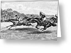 Horse Racing, 1900 Greeting Card