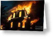 House On Fire Greeting Card by Photo Researchers, Inc.