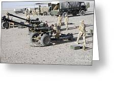 Howitzer 105mm Light Guns Are Lined Greeting Card