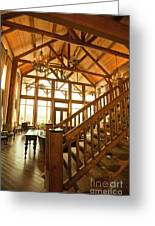 Interior Of Large Wooden Lodge Greeting Card
