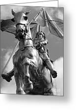 Joan Of Arc Statue French Quarter New Orleans Black And White Greeting Card