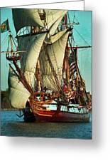 Kalmar Nyckel Under Sail Greeting Card