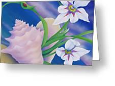 Ladybug And Iris Greeting Card