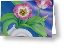 Ladybug And Tulips Greeting Card