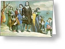 Landing Of The Pilgrims At Plymouth Greeting Card