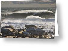 Large Waves Near Pemaquid Point On The Coast Of Maine Greeting Card