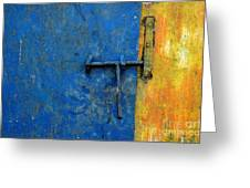 Latch The Door On The Faded Blue And Yellow Wall Greeting Card