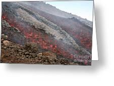 Lava Flow During Eruption Of Mount Etna Greeting Card