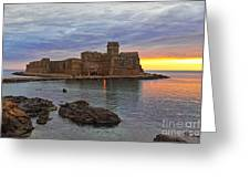 Le Castella Castle Greeting Card by Gualtiero Boffi