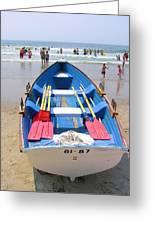 Lifeguard Boat At Ocean City Boardwalk New Jersey Greeting Card
