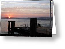 Lisbon Suspension Bridge At Sunset Iv Portugal Greeting Card