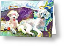 Little Angels Poodles Greeting Card