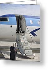 Luggage Near Airplane Steps Greeting Card by Jaak Nilson
