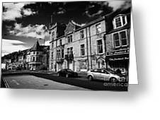 main road through the picturesque small town of Callander scotland uk Greeting Card by Joe Fox