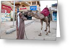 Man With His Camel Greeting Card