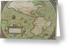Map Of North And South America Greeting Card
