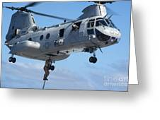 Marines Fast Rope From A Ch-46 Sea Greeting Card