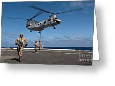 Marines Fast Rope On To The Flight Deck Greeting Card