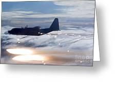 Mc-130p Combat Shadow Dropping Flares Greeting Card