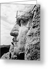Men Working On Mt. Rushmore Greeting Card
