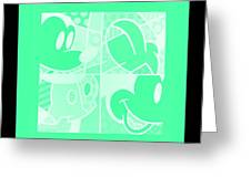 Mickey In Negative Light Green Greeting Card