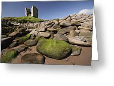 Minard Castle And Rocky Beach Minard Greeting Card