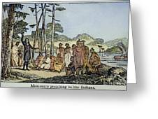 Missionary And Native Americans Greeting Card