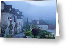 Misty Dawn In Saint Cirq Lapopie Greeting Card