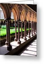Mont Saint Michel Cloister  Greeting Card by Elena Elisseeva