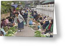 Morning Market In Luang Prabang Greeting Card