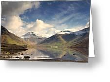 Mountains And Lake At Lake District Greeting Card