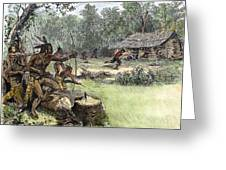 Native American Attack, C1640 Greeting Card