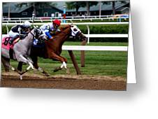 Neck And Neck At Saratoga One Greeting Card