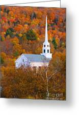 New England Church In Autumn Greeting Card