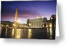 Nightfall At The Square At St. Peters Greeting Card