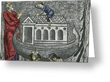 Noah Building The Ark Greeting Card