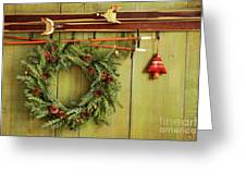 Old Pair Of Skis Hanging With Wreath Greeting Card