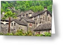 Old Rustic Village Greeting Card