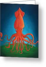 Orange Squid Greeting Card