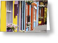 Painted Buildings On Main Street In Greeting Card