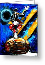Painting On A Barrel Greeting Card