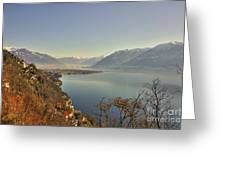 Panoramic View Over A Lake Greeting Card