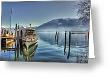 Passenger Ship On An Alpine Lake Greeting Card
