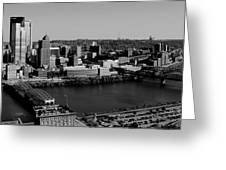 Pittsburgh In Black And White Greeting Card