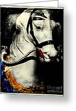 Portrait Of A Carousel Pony Greeting Card by Colleen Kammerer