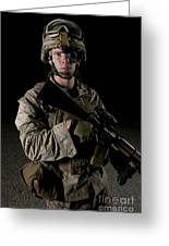 Portrait Of A U.s. Marine Wearing Night Greeting Card